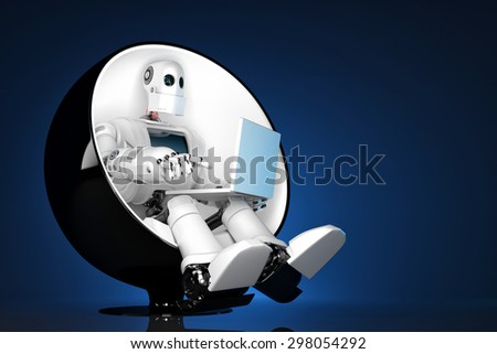 Robot sitting on a chair and holding a laptop. Contains clipping path Stock photo © Kirill_M