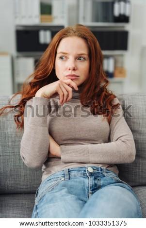 Séduisant jeune femme cheveux bouclés jeans shirt longtemps Photo stock © deandrobot