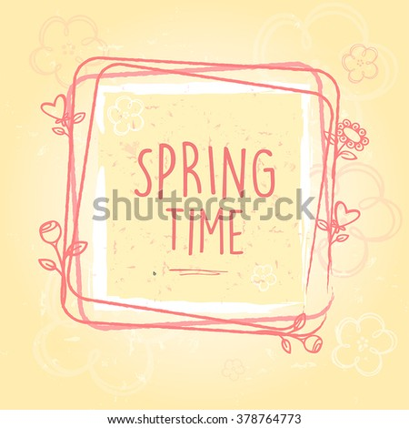 Spring Time In Frame With Flowers And Hearts Old Paper Backgrou Stockfoto © marinini