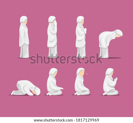 Young muslim female in traditional clothes praying with little girl Stock photo © zurijeta
