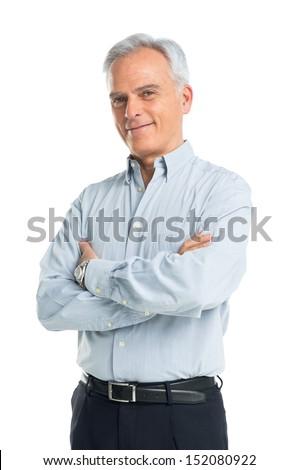 Portrait supérieurs homme isolé blanche bleu Photo stock © leventegyori