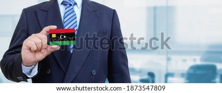 Hitelkártya Líbia zászló bank prezentációk üzlet Stock fotó © tkacchuk