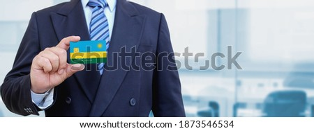 Credit card with Rwanda flag background for bank, presentations and business. Isolated on white Stock photo © tkacchuk