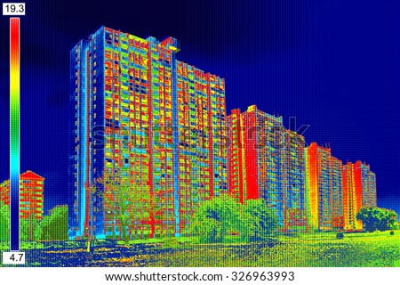 recording residential buildings with thermal camera stock photo © smuki
