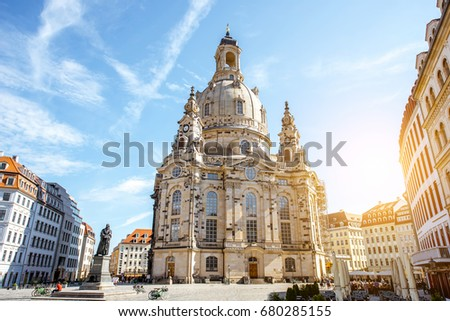 Neumarkt Square at Frauenkirche (Our Lady church) in the center  Stock photo © vladacanon