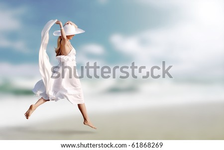 Beautiful carefree woman in hat enjoying exotic sea, brunette re Stock photo © Victoria_Andreas