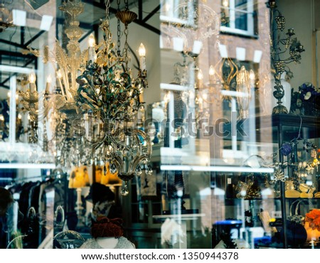 old vintage storefront with lot of antique stuff, city life conc Stock photo © iordani