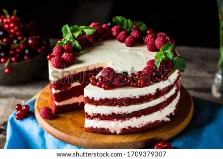 Red velvet cake on the plate stock photo © Alex9500