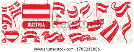 Austria flag ribbon isolated. Austrian banner tape. State patrio Stock photo © popaukropa