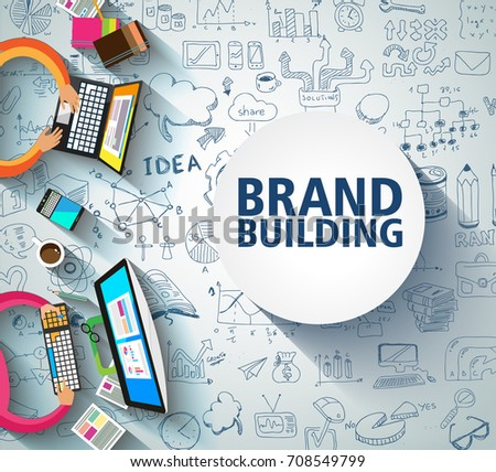 Brand Building concept with Business Doodle design style: company image study, skill testing,best so Stock photo © DavidArts