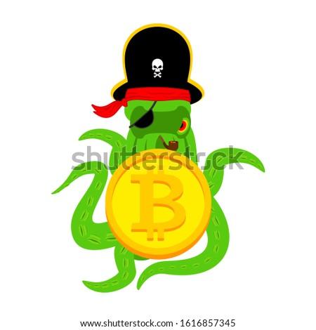 Polip háló kalóz bitcoin hacker tolvaj Stock fotó © popaukropa