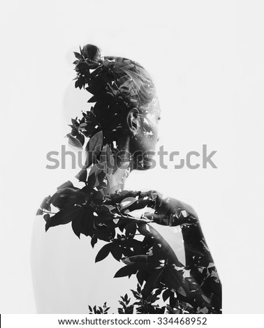 Woman portrait with double exposure, face and tree branches. Vector Stock photo © Andrei_