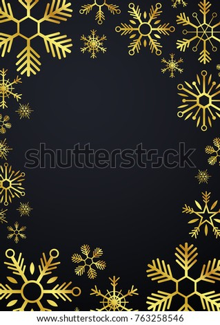 merry christmas and happy new year glod snowflakes vector illustration stock photo © leo_edition