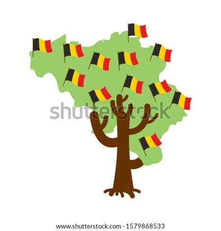 Patriotic tree Belgium map. Belgian flag. National political Pla Stock photo © popaukropa