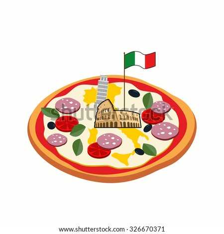 Italian pizza. Cheese in form of a silhouette map of Italy with  Stock photo © popaukropa