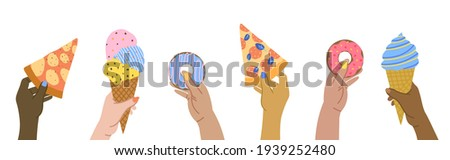 International pizza day. Hand hold pieces of pizza. Vector illus Stock photo © popaukropa