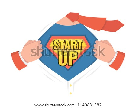 Startup Sign Vector. Superhero Open Shirt With Shield Badge. Business Start Up Sign. Isolated Flat C Stock photo © pikepicture