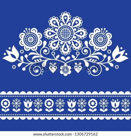Scandinavian retro folk art floral, vector design in navy blue, Nordic pattern with birds and flower Stock photo © RedKoala