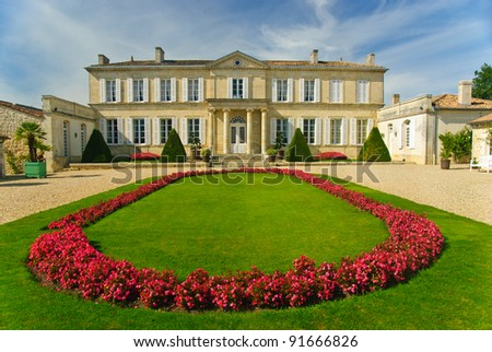 Stock photo: Bordeaux wine region in france flowers in the vineyard countrysi