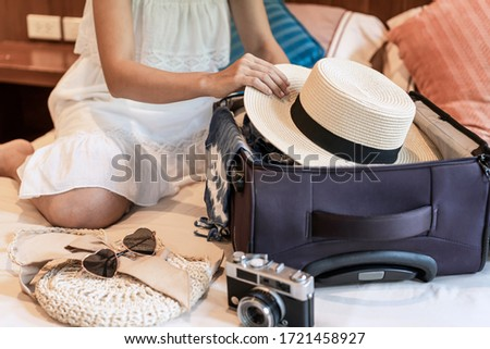 open travel case in hotel bedroom travel vacation concept background stock photo © denisgo