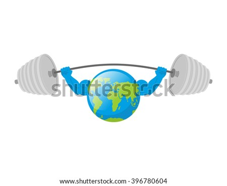 strong earth planet bodybuilder with huge muscles vector illus stock photo © popaukropa