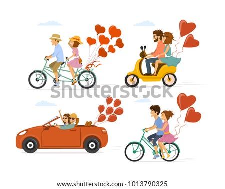 Couple cyclistes tandem vélo illustration famille Photo stock © NikoDzhi