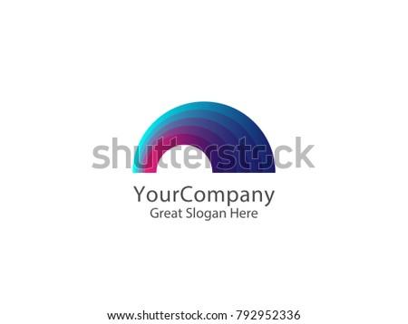 colorful rainbow logo icon symbol abstract dome vector illustra stock photo © taufik_al_amin