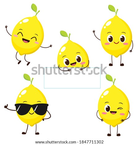 Risonho amarelo limão fruto desenho animado cara Foto stock © hittoon