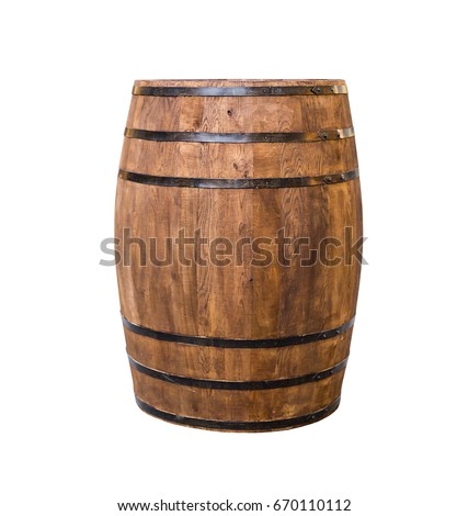 Wooden oak barrel for wine stand vertically. Isolated on white Stock photo © orensila