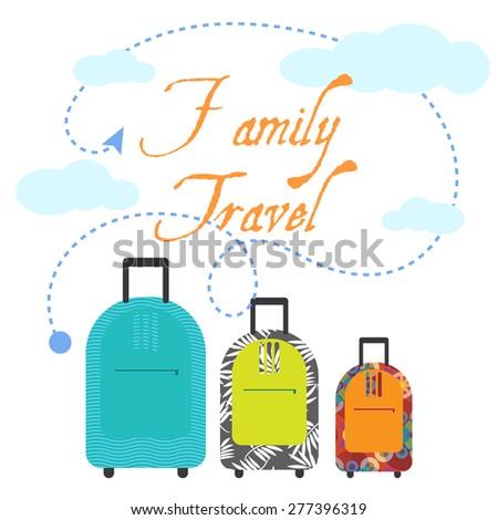 Felirat vakáció három csomagok utazás szatyrok Stock fotó © MarySan