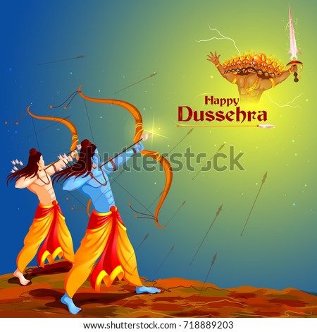 Lord Rama and Laxmana in Navratri festival of India sale promotion ans advertisement poster for Happ Stock photo © vectomart