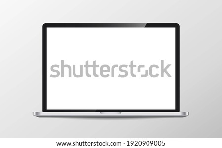 Mock up of realistic glossy laptop with transparent place for screen stock photo © Evgeny89