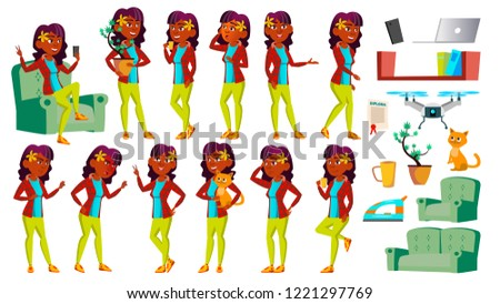 Asian Teen Girl Poses Set Vector. Funny, Friendship. For Advertisement, Greeting, Announcement Desig Stock photo © pikepicture