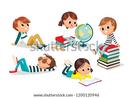 little smart girl reading a book at home vector education concept isolated illustration stock photo © pikepicture