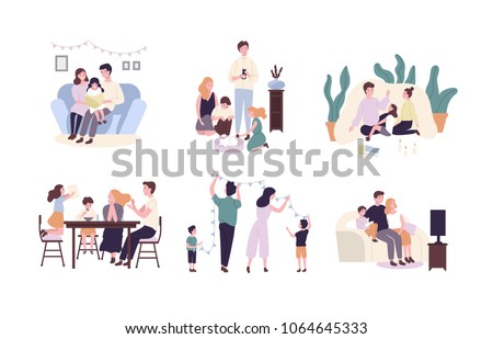 family set vector family members spending time together at home outdoor father mother son daug stock photo © pikepicture