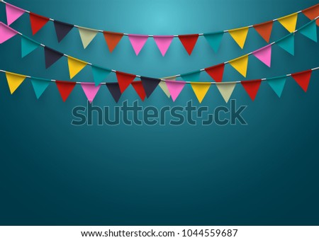 Garland flag and confetti in party and enjoyment concept. Celebration background template. Vector il Stock photo © olehsvetiukha