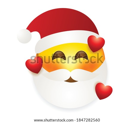 Christmas emoji Santa Claus, holiday smile face emoticon, vector illustration. Stock photo © ikopylov