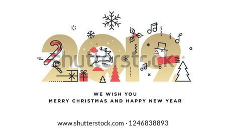 merry christmas and new year gift tag holiday card concept with xmas symbols   deer believe in chr stock photo © jeksongraphics