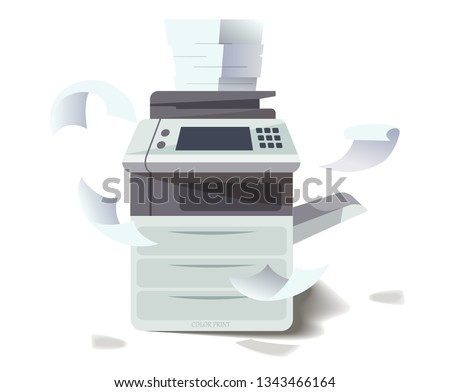 Sheets Of Paper From The Printer Scattering Around And On Frightened Manager Vector. Isolated Illust Stock photo © pikepicture