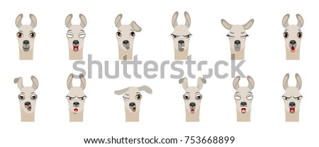 heads of lama with different emotions   smiling sad anger aggression drowsiness fatigue malice stock photo © smeagorl