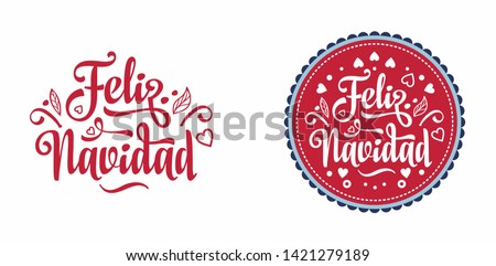 Vector Christmas Illustration with Spanish Feliz Navidad Typography on Black Background. Holiday Lig Stock photo © articular