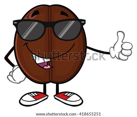 Cute ziarna kawy maskotka cartoon charakter kciuk w górę Zdjęcia stock © hittoon