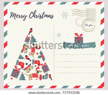 Christmas card template with cute dogs Stock photo © colematt