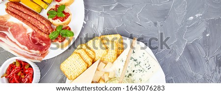 Italian antipasti wine snacks set. Mediterranean. Falt lay. Copy space. Stock photo © Illia
