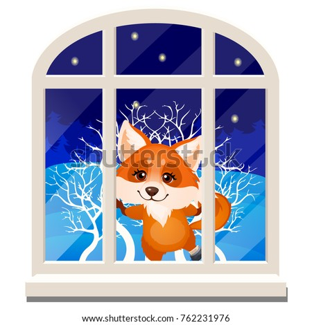 Cute cheerful smiling fox looks out through the window isolated on a white background. Sketch of Chr Stock photo © Lady-Luck