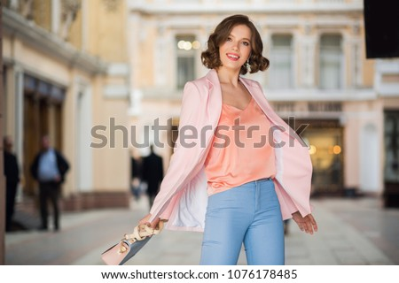 image of pretty woman wearing stylish accessories smiling while stock photo © deandrobot
