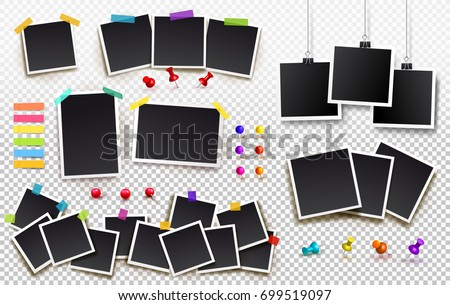Foto stock: Empty Photos Frames Photo Booth Vector Template For Photo Image Photos Palaroid Frames With Shad