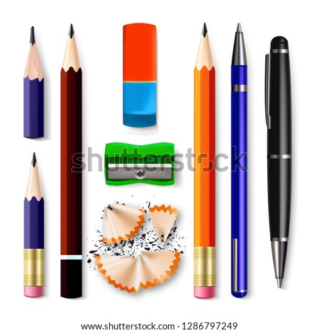 Pen, Pencil Stationery Set Vector. Sharpened. Classic Rubber, Without, Graphite. Wood, Plastic And M Stock photo © pikepicture