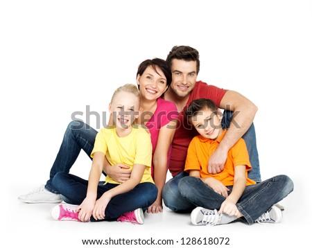 familie · vier · vergadering · vloer · twee - stockfoto © ruslanshramko