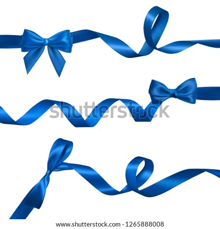 Set of Realistic blue bow with long curled blue ribbon. Element for decoration gifts, greetings, hol Stock photo © olehsvetiukha
